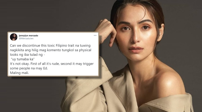 Jennylyn Mercardo urges Filipinos to stop commenting on other people's physical looks upon seeing them