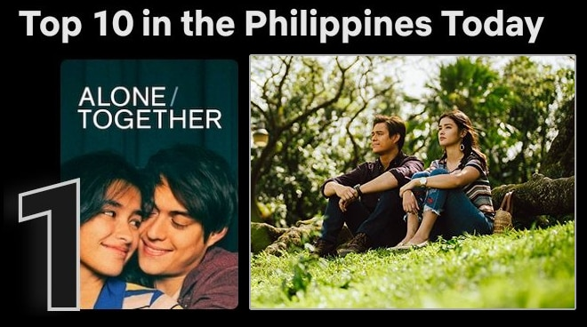 LizQuen's 'Alone/Together' lands the number 1 spot on Netflix Philippines' trending list
