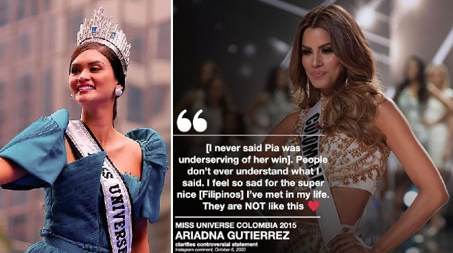 Miss Colombia 2015 Ariadna Gutierrez clarifies statement after likening Pia Wurtzbach to a 'ghost'