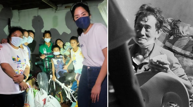 Gretchen Ho gives bicycle to streetsweeper as part of bike donation campaign