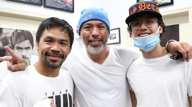 LOOK: Fil-Am comedian Jo Koy visits Manny Pacquiao at Wild Card Boxing Club