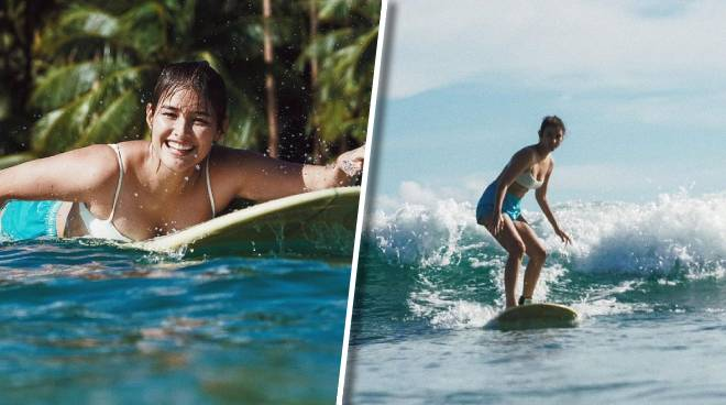 LOOK: Liza Soberano learns how to surf in Siargao