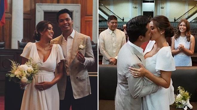 LOOK: Rachel Peters and Migz Villafuerte tie the knot in civil wedding