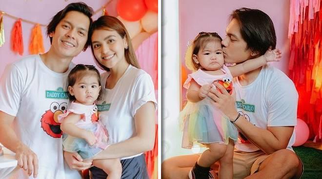 Carlo Aquino's daughter Enola Mithi celebrates her 1st birthday