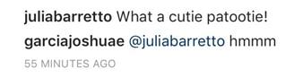 What was Joshua Garcia's reaction when Julia Barretto called someone a 'cutie'?