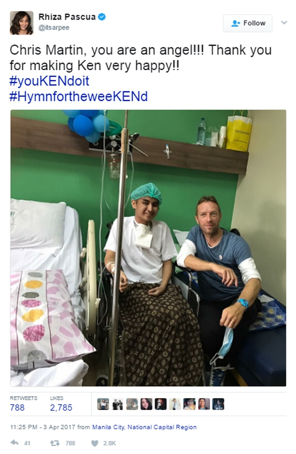 LOOK: Chris Martin visits a Coldplay fan with cancer