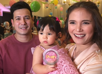 John Prats and Isabell Oli celebrate daughter Lilly Feather's first birthday