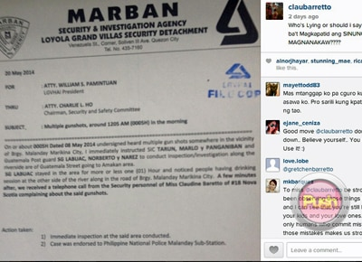 Claudine Barretto shows 'proof' of shooting incident at her home