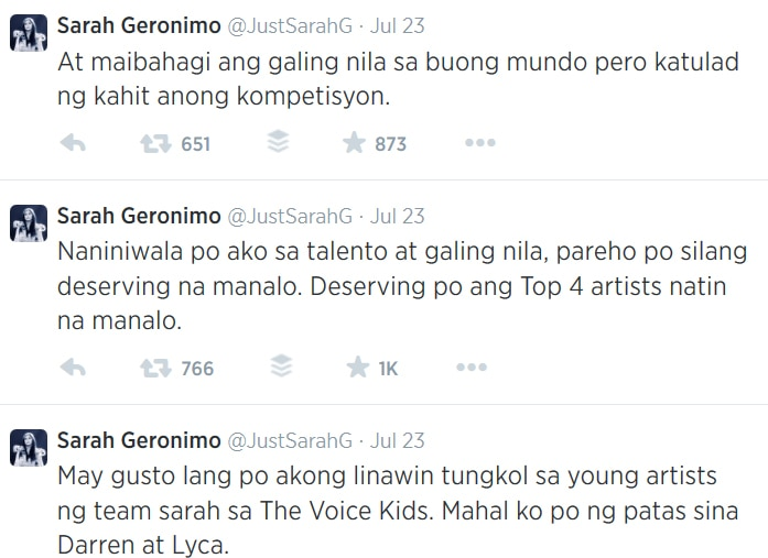 Sarah clears issues on The Voice Kids Team Sarah favoritism