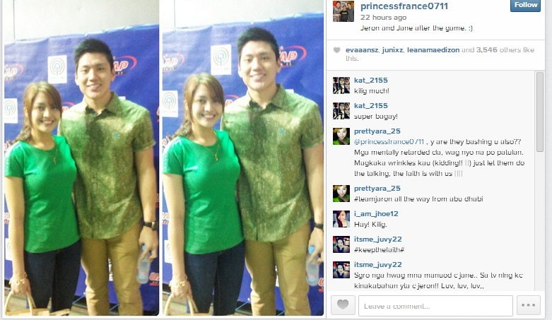 Jeron Teng thanks Jane Oineza for coming to UAAP live game