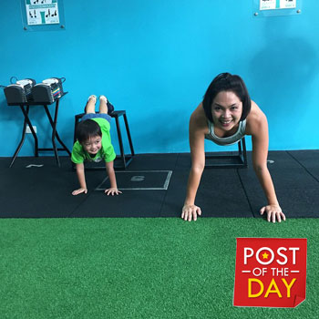 Juday's youngest gym buddy