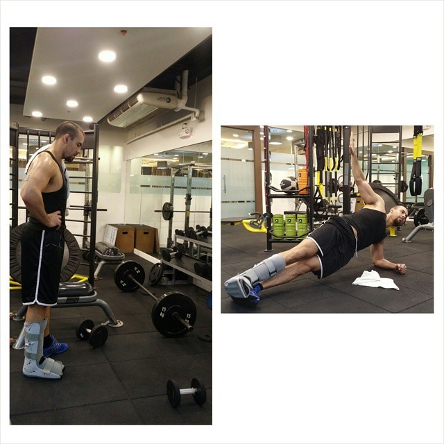 An injured Doug Kramer chooses to work out