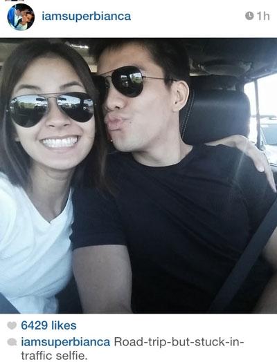 Bianca and JC's selfie habang traffic