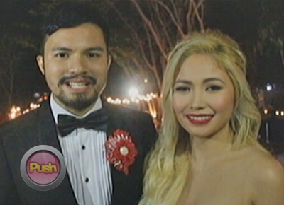 Yeng Constantino and Yan Asuncion happy with their very 'red' wedding day
