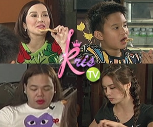 Erich, Darla, Kris and Bimby tries the Veggie pizza