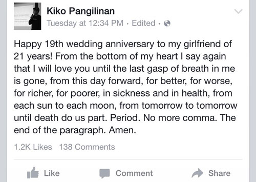 Kiko's message to his girlfriend of 19 years