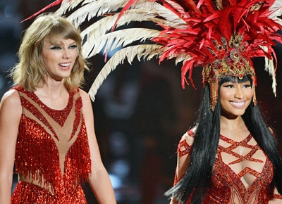 Taylor Swift and Nicki Minaj perform together at Video Music Awards after Twitter feud last July