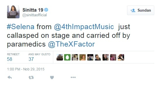 4th Impact's Celina collapses after their elimination in the X Factor UK 2015
