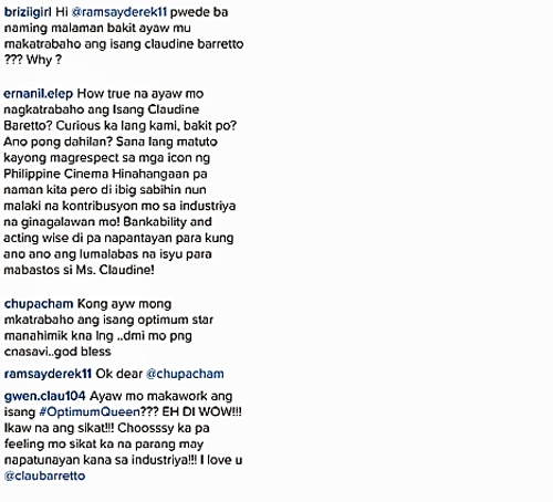Derek Ramsay denied allegations that he turned down a project with Claudine Barretto