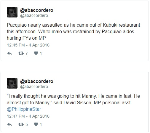 Manny Pacquiao almost gets punched by an unknown assailant in the US