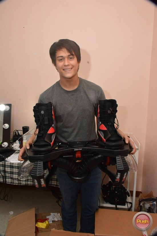 Liza Soberano gives Enrique Gil a flyboard for his birthday