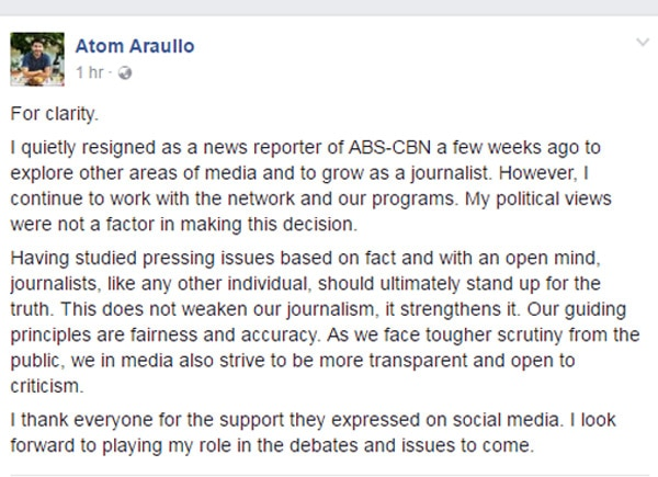 Atom Araullo confirms he has resigned as ABS-CBN News reporter