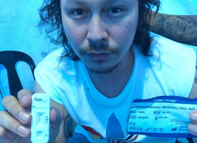 Baron Geisler shows his drug test results