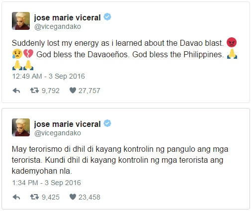 Showbiz personalities share and ask for prayers for Davao