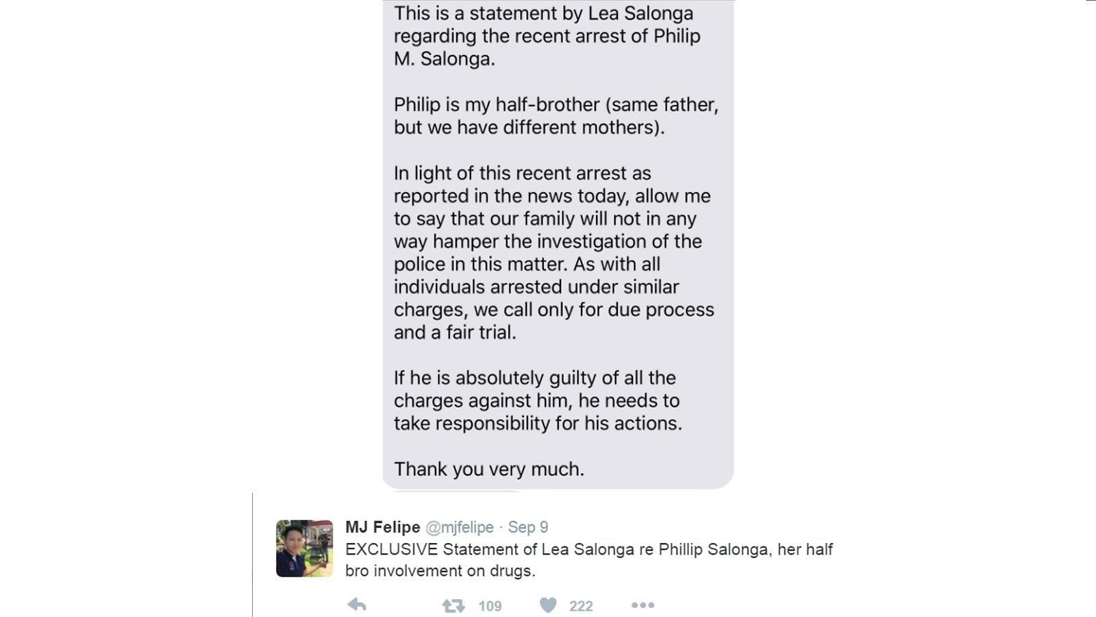 Lea Salonga's statement on half-brother's arrest