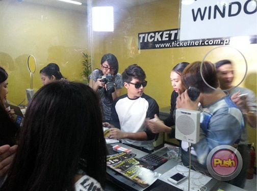 Daniel sells tickets for his concert