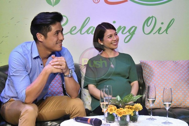 Kaye Abad displayed her baby bump at the product launch of her husband Paul Jake Castillo's family b