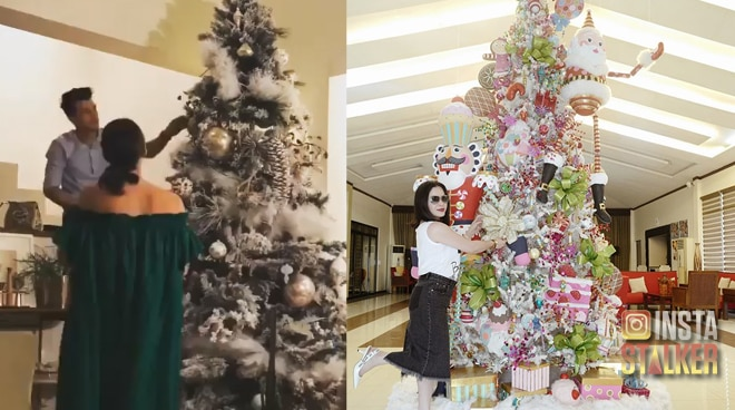 Celebrities light up their Christmas trees at home