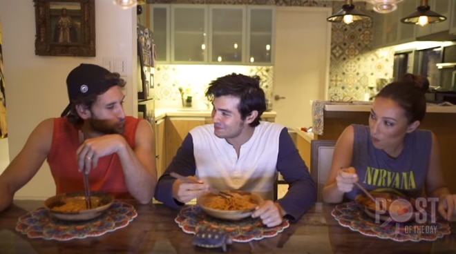 WATCH: Erwan Heussaff, Solenn Heussaff and Nico Bolzico try the spicy Korean noodle challenge