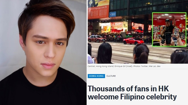 English web newspaper features Enrique Gil's 'mobbed' event in Hong Kong