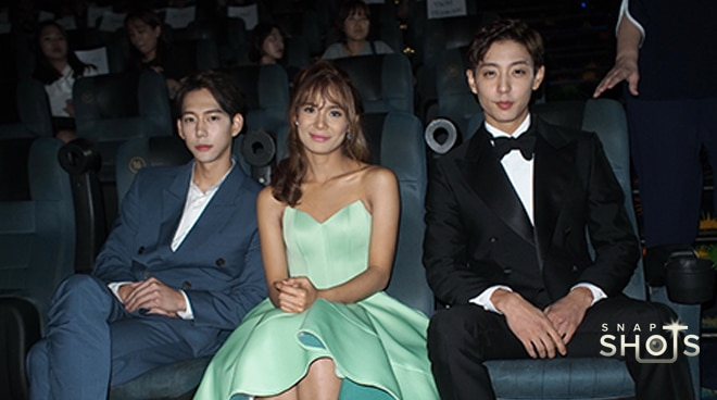 Devon Seron dazzles with her two Korean leading men at the 'You With Me' premiere
