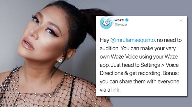 LOOK: Waze app's official twitter responds to Rufa Mae's audition video