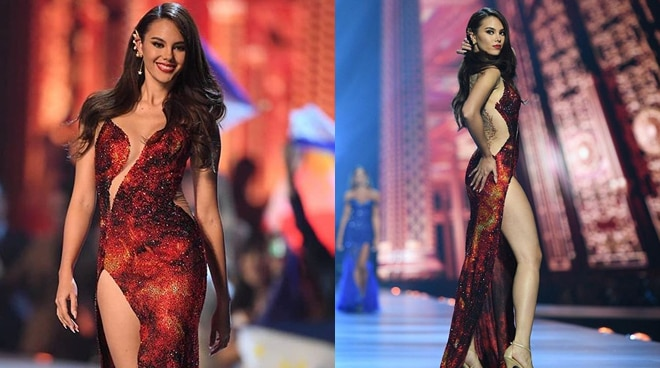 "LOOK: Miss Universe 2018 Catriona Gray's fiery ""Mayon Volcano"" evening gown makes waves online"