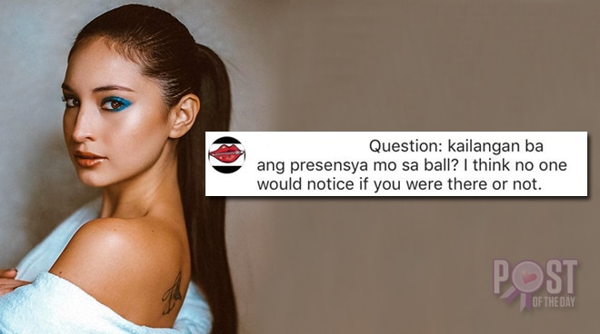Coleen Garcia responds to netizen who commented no one would notice if she missed the ball
