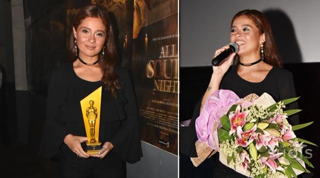 Andi Eigenmann shows her international film fest's best actress award at movie premiere