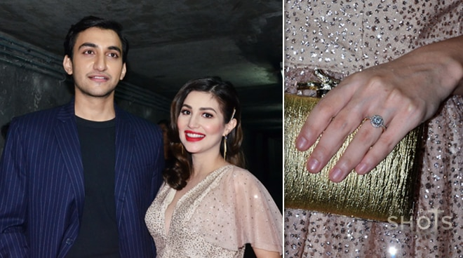 Nathalie Hart brings fiancé to movie premiere, shows her engagement ring