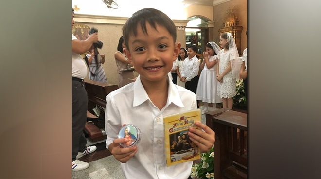 LOOK: Lucho Agoncillo is so cute during his first Holy Communion