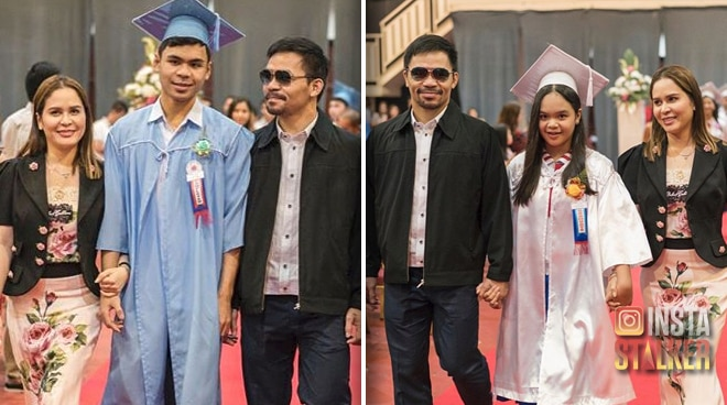 """""""Proud and Blessed"""": Manny and Jinkee Pacquiao's two kids graduate from elementary, high school"""