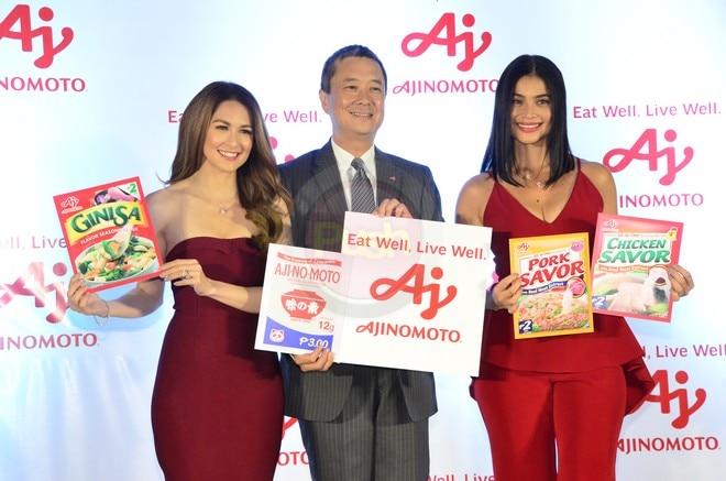 Celebrities Anne Curtis and Marian Rivera endorse Ajinomoto.