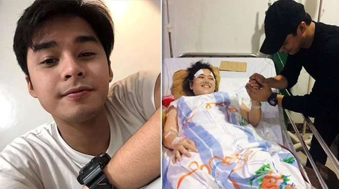 McCoy de Leon checks up on fan at the hospital