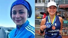 Beth Tamayo finishes the Boston Marathon