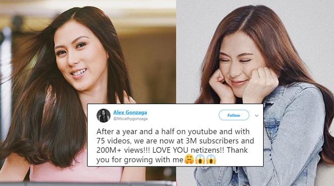 Alex Gonzaga marks three million subscribers, reaches more than 200 million views on YouTube
