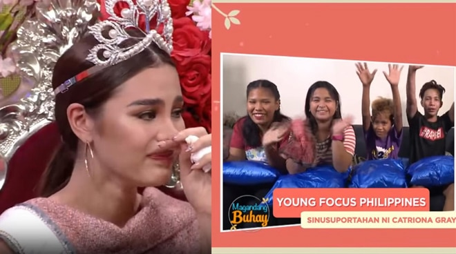 Catriona Gray gets emotional after receiving a message from Tondo kids