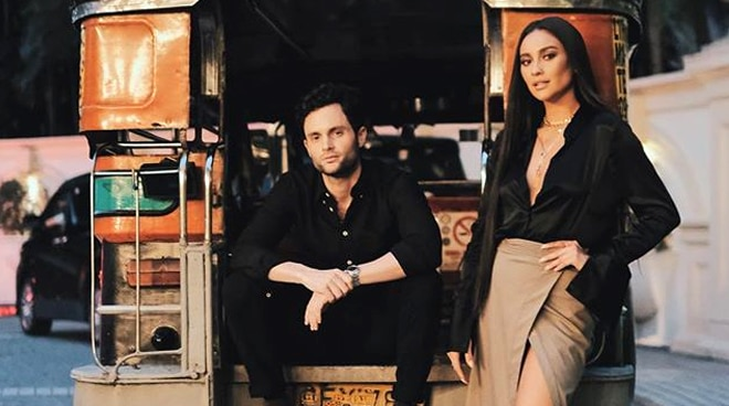 LOOK: 'You' stars Penn Badgley, Shay Mitchell pose by a jeepney