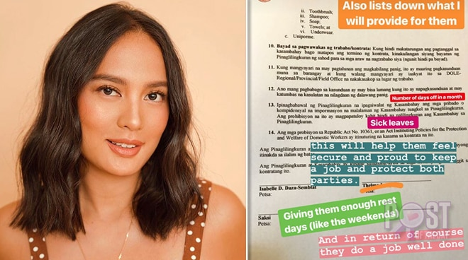 Isabelle Daza creates contract for her house helpers
