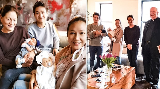 Korina Sanchez and Mar Roxas' twins blessed by Parish priest in US